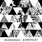 seamless pattern tropical birds ...   Shutterstock . vector #619874147