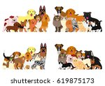dogs and cast group border set | Shutterstock .eps vector #619875173
