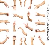 Small photo of Male hand gesture and sign collection isolated over white background, set of multiple pictures