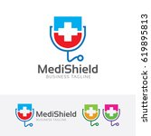 medical shield  vector logo... | Shutterstock .eps vector #619895813