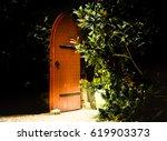 Old Wooden Heavy Open Door As...