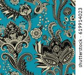 paisley floral seamless pattern.... | Shutterstock .eps vector #619914023