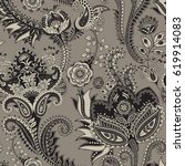 paisley floral seamless pattern.... | Shutterstock .eps vector #619914083