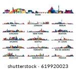 Stock vector geometric pattern skyline city america and europe 619920023