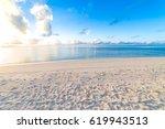 perfect tropical beach... | Shutterstock . vector #619943513