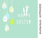 happy easter cute poster with... | Shutterstock .eps vector #619944203