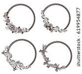 decorative vintage frames set | Shutterstock .eps vector #619954877