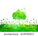 watercolor nature tree and... | Shutterstock . vector #619959017