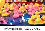 rubber duck fishing game. | Shutterstock . vector #619967753