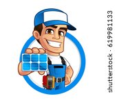 friendly technician installer... | Shutterstock .eps vector #619981133