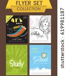 flyer set collection of art... | Shutterstock .eps vector #619981187