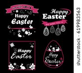 vector set of icons with easter ... | Shutterstock .eps vector #619983563