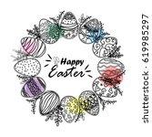 easter wreath from eggs  vector | Shutterstock .eps vector #619985297