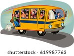 bus overloaded with passengers...   Shutterstock .eps vector #619987763