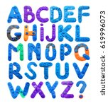 color plasticine alphabet  blue | Shutterstock . vector #619996073