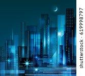 abstract modern night city... | Shutterstock . vector #619998797