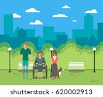 disabled people in city life... | Shutterstock .eps vector #620002913