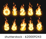 set of burning fiery numbers... | Shutterstock .eps vector #620009243