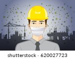 engineer wearing breath mask... | Shutterstock .eps vector #620027723