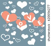 valentines day card with hearts ... | Shutterstock .eps vector #620056277