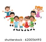 group of happy boys and girls... | Shutterstock .eps vector #620056493