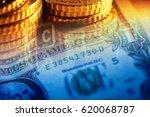 one dollar bill. macro image. | Shutterstock . vector #620068787