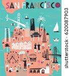 cartoon map of san francisco.... | Shutterstock .eps vector #620087903