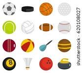 sport balls icons set in flat... | Shutterstock .eps vector #620108027