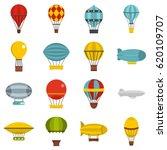 hot air balloon icons set. flat ... | Shutterstock .eps vector #620109707