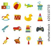 children toy icons set. flat... | Shutterstock .eps vector #620110733