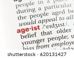Small photo of Closeup of English dictionary page with word AGEIST.