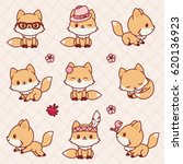 Stock vector cute little foxes in kawaii style vector icons set 620136923