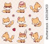 cute little foxes in kawaii... | Shutterstock .eps vector #620136923