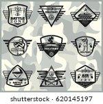 black vintage military labels... | Shutterstock .eps vector #620145197