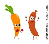 funny food characters  carrot... | Shutterstock .eps vector #620148383