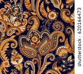 paisley floral seamless pattern.... | Shutterstock .eps vector #620166473