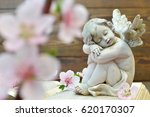 Angel And And Spring Flowers O...