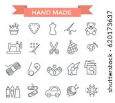 handmade icons  thin line  flat ... | Shutterstock .eps vector #620173637