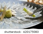 Sliced Raw Puffer Fish. Live...