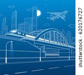 train traveling along the... | Shutterstock .eps vector #620176727