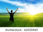 man in green meadow. emotional... | Shutterstock . vector #62020465