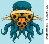 skull octopus blue and yellow... | Shutterstock .eps vector #620250137