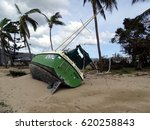 Small photo of Airlie Beach, Queensland, Australia-March 30, 2017: Boat aground resulting from Cyclone Debbie, category 4.9 cyclone that hit Airlie Beach on Tuesday, 28th March 2017.