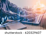 Small photo of Double exposure businessman and stock market or forex graph suitable for financial investment concept. Economy trends background for business idea and all art work design. Abstract finance background.