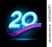 20th anniversary 3d text with... | Shutterstock .eps vector #620336297