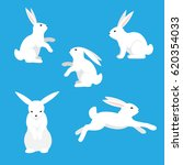 Stock vector white rabbits on a blue background 620354033