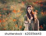 princess pulling petals from a... | Shutterstock . vector #620356643