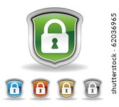 vector shield and lock icon set   Shutterstock .eps vector #62036965
