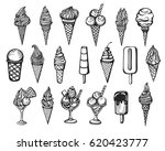 vector set of the hand drawn... | Shutterstock .eps vector #620423777