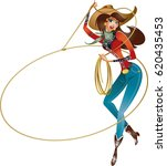 cowgirl with lasso doing rope...